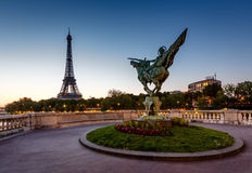 France Reborn Statue on Bir-Hakeim Bridge and Eiffel Tower Royalty Free Stock Photography