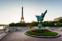 France Reborn Statue on Bir-Hakeim Bridge and Eiffel Tower Stock Images
