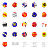 France regions flags ball. This picture shows a flag ball/stamp made for the whole regions flags in France. With a description of each flag's name. White Royalty Free Stock Image