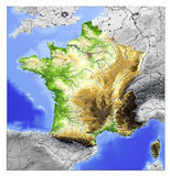 France, relief map. 3D Relief Map of France, seen from above Royalty Free Stock Photography