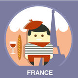 France Resident on Traditional Background Vector. Parisian on traditional background in flat style, vector illustration Stock Photo