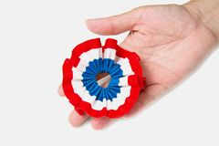 France ribbon. Cockade with france flag color Stock Image