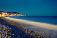 France riviera. In the night. Nice, France Royalty Free Stock Photos