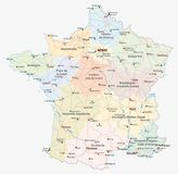 France road, administrative and political map Stock Photo