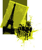 France Rock Band. Modern card of the eiffel tower with rock band Stock Image