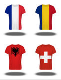 France, Romania, Albania, Switzerland  flags on t-shirt Stock Photography