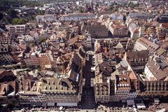 France rooftops across the city of Strasbourg stock photos