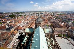 France rooftops across the city of Strasbourg royalty free stock photography