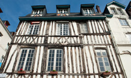 FRANCE, ROUEN - AUGUST 11 2012: Typical building facade wooden a Stock Image