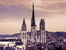 Rouen Cathedral. France. The Rouen Cathedral is one of the highest Gothic churches in the world Stock Photos