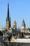 France Rouen: the gothic cathedral of Rouen. The Norman cathedral contains the tomb of Richard the Lion heart. View of the church tower Stock Photo