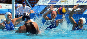 France's DAULE Audrey (FRA, 12) throwing the ball. Stock Photo