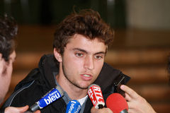 France's Gilles Simon during a press conference Royalty Free Stock Image