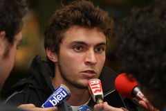 France's Gilles Simon during a press conference Stock Photography