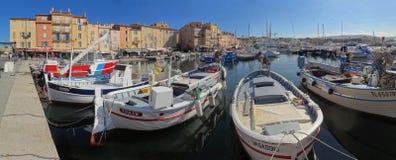 The Saint Tropez harbor and seaside esplanade royalty free stock photography