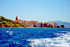 France - Saint Tropez. Saint Tropez in France, Europe view from sea stock photography