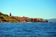 France - Saint Tropez. Saint Tropez in France, Europe view from sea royalty free stock photo