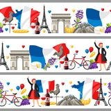 France seamless borders. French traditional symbols and objects Stock Photography