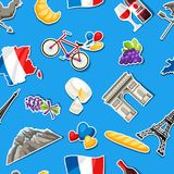 France seamless pattern. French traditional sticker symbols and objects Stock Photos