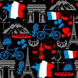 France seamless pattern. French traditional symbols and objects Stock Photos