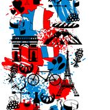 France seamless pattern. French traditional symbols and objects Stock Image