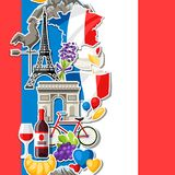 France seamless pattern. French traditional sticker symbols and objects Stock Photography
