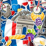 France seamless pattern. French traditional sticker symbols and objects Royalty Free Stock Photos