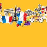 France seamless pattern. French traditional sticker symbols and objects Royalty Free Stock Photography