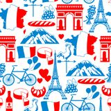 France seamless pattern. French traditional symbols and objects Stock Photo