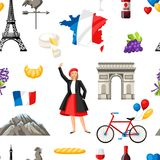 France seamless pattern. French traditional symbols and objects Royalty Free Stock Images
