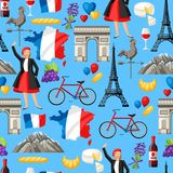 France seamless pattern. French traditional symbols and objects Royalty Free Stock Photos