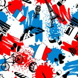 France seamless pattern. French traditional symbols and objects Royalty Free Stock Photography