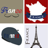 France. Set of backgrounds and labels with text and french elements. Vector illustration Stock Photography