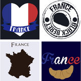 France. Set of backgrounds and labels with text and french elements. Vector illustration Royalty Free Stock Photography