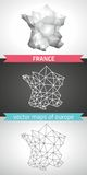 France set of grey and silver mosaic 3d polygonal maps Stock Photography