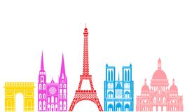 France set. Isolated France architecture on white background. EPS 10. Vector illustration Royalty Free Stock Photos