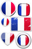 France - Set of stickers and buttons. Glossy and colorful stickers with reflection set Stock Photo