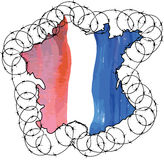France shape of the country colored in national flag colors and Royalty Free Stock Photography