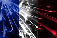 France shining fireworks sparkling flag. New Year 2019 and Christmas futuristic shiny party concept flag. stock illustration