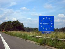 France. Sign on the highway from Belgium to France France 2 km Royalty Free Stock Images