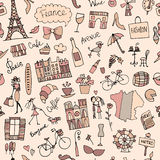 France sketch, seamless pattern for your design Stock Images