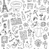 France sketch, seamless pattern for your design Stock Photography