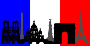 France  skyline and flag Royalty Free Stock Photos