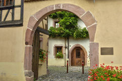 France, small village of Riquewihr in Alsace Stock Photos