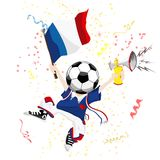 France Soccer Fan. With Ball Head Stock Image