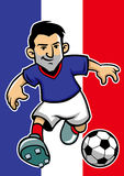 France soccer player with flag background Stock Images