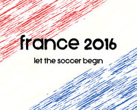 France 2016 Soccer poster. Retro stylish France. Flag background, typographic design. Vector illustration Royalty Free Stock Photography