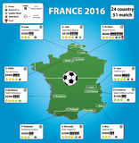 France soccer stadium map and infographics. France 2016 soccer stadium map and infographics,vector Stock Photo