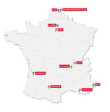 France 2016 soccer stadium map Royalty Free Stock Photography