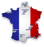 France soccer stadium map Royalty Free Stock Photo